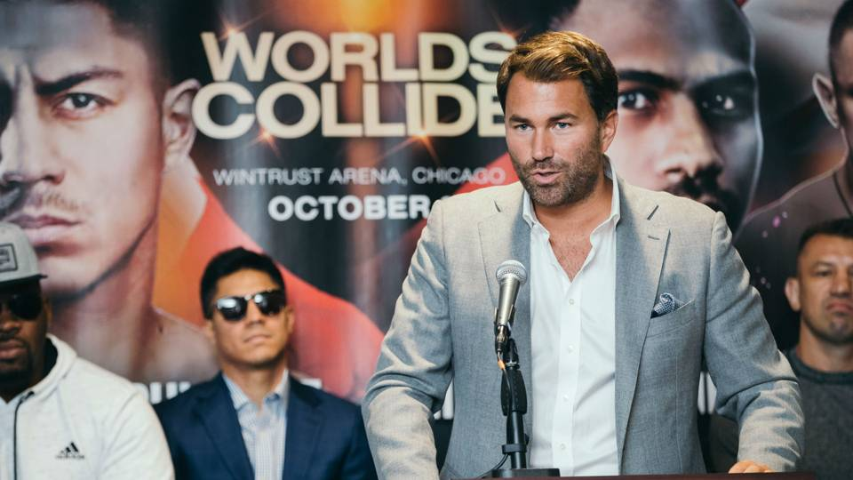 Eddie Hearn at presser Oct. 6 event on DAZN