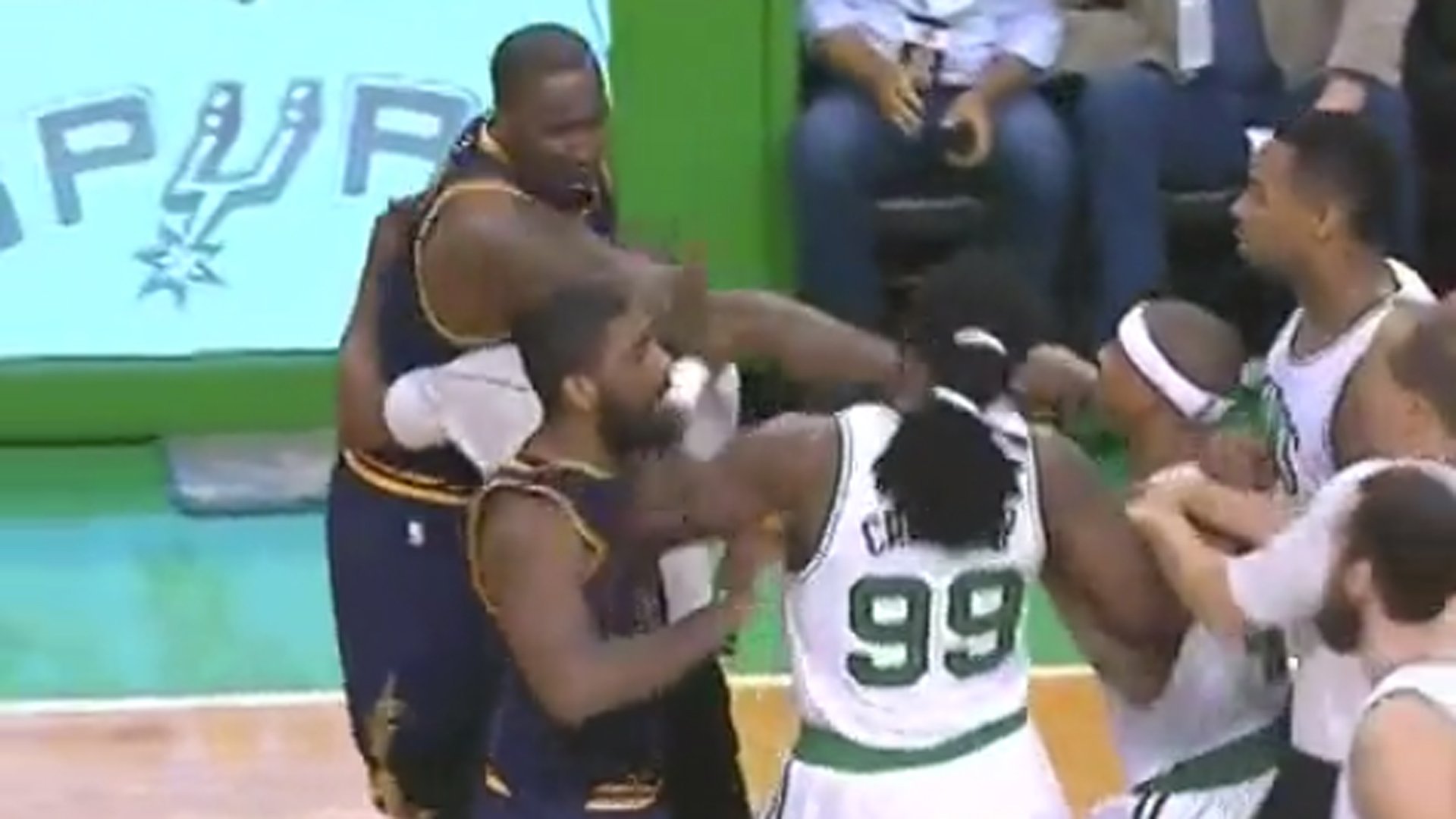 Kendrick Perkins plows into Jae Crowder; scuffle ensues