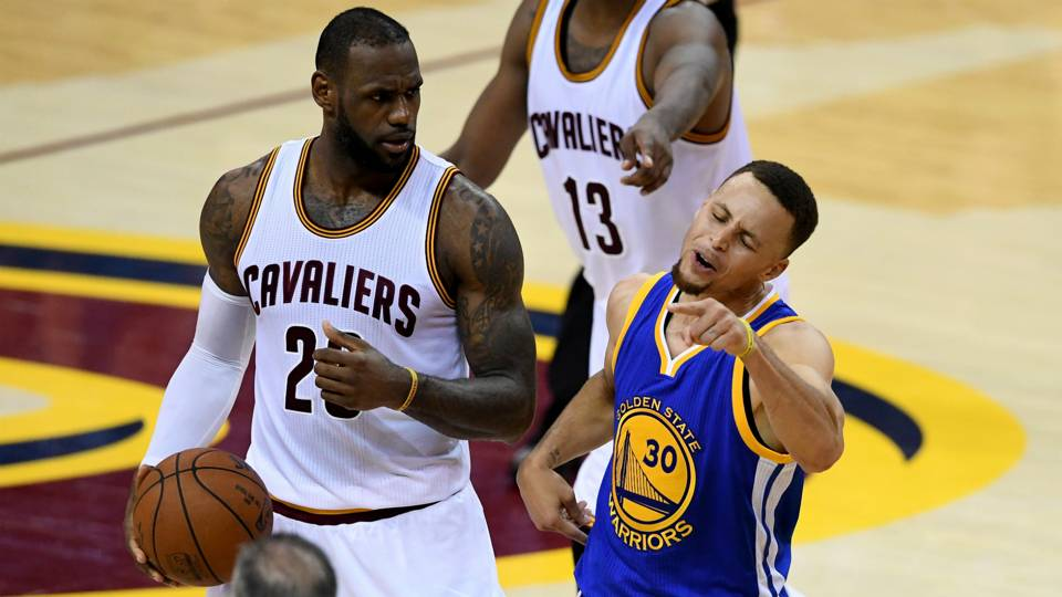 LeBron James laughs as Stephen Curry flails and NBA Finals ...