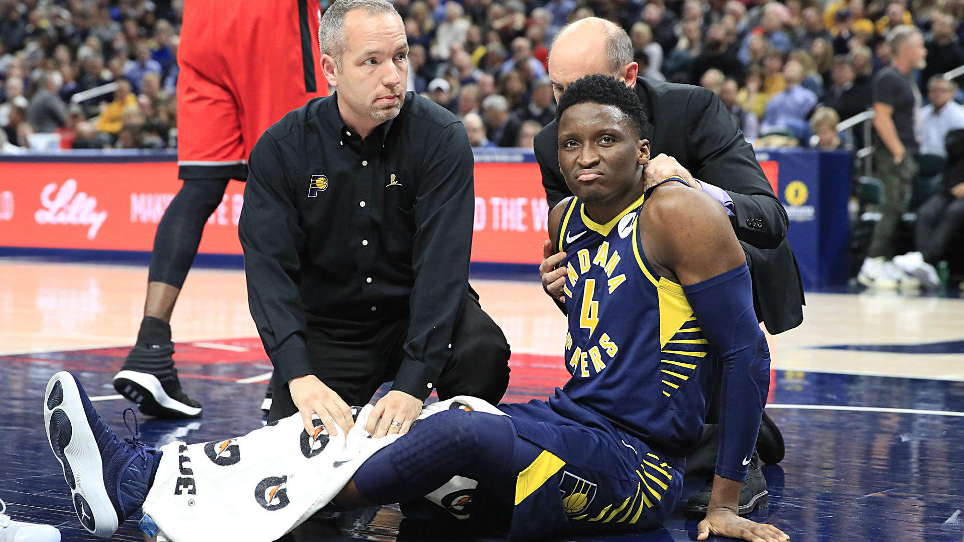 Victor Oladipo taken off on stretcher on Wednesday