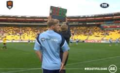 Sydney FC's Rhyan Grant tried to take the field in his training shirt against Wellington.