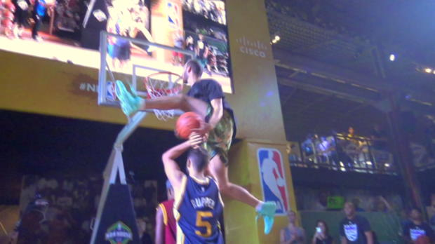 Jordan Kilganon puts on CRAZY dunk show at NBA House Rio!