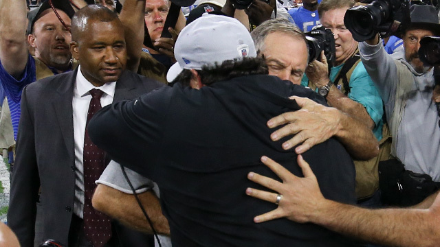 Patricia, Belichick hug after Lions' home win