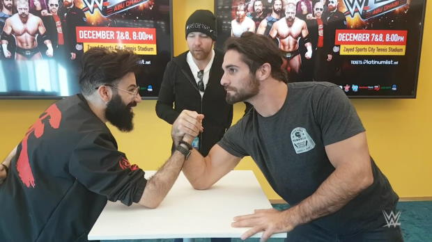 Ambrose & Rollins eat birthday cake and arm-wrestle in Abu Dhabi