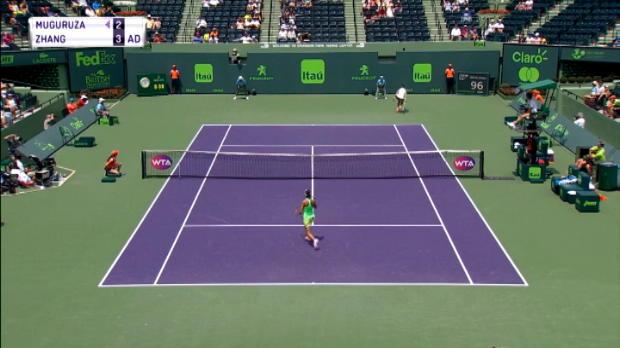 تنس: بطولة ميامي: موغوروزا تهزم زانغ – 4-6 6-2 6-2