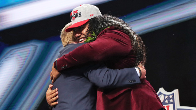NFL first-round draftees hug it out with NFL Commissioner Roger Goodell