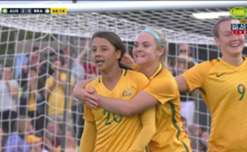 Sam Kerr gave the Matildas a 2-0 lead against Brazil with a superb header from an Alanna Kennedy cross.