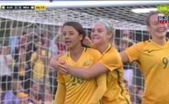 Sam Kerr gave the Matildas a 2-0 lead against Brazil with a superb header from an Alanna Kennedy cross.