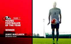 Who will be this season's NAB Young Footballer of the Year following Jamie Maclaren's success in  2015/16?