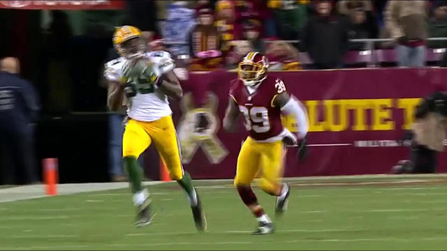 Rodgers floats one to Cook for a 46-yard gain