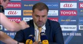 Socceroos boss Ange Postecoglou addresses the media following Australia's 3-2 win over Saudi Arabia.