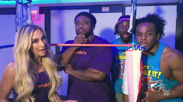 Carmella, Big E and The New Day take a ride on a pirate ship courtesy of KaBOOM!