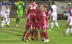 Michael Marrone rose highest to head home the opening goal for Adelaide United.