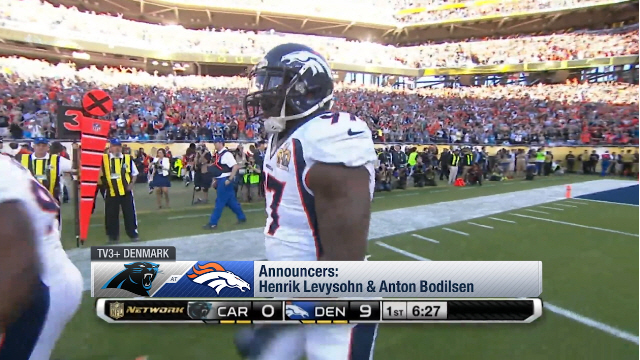 Danish TV broadcasters call Von Miller's forced fumble for a touchdown