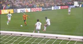 Josh Kennedy comes up with the crucial goal which sent the Caltex Socceroos to the 2014 FIFA World Cup.
