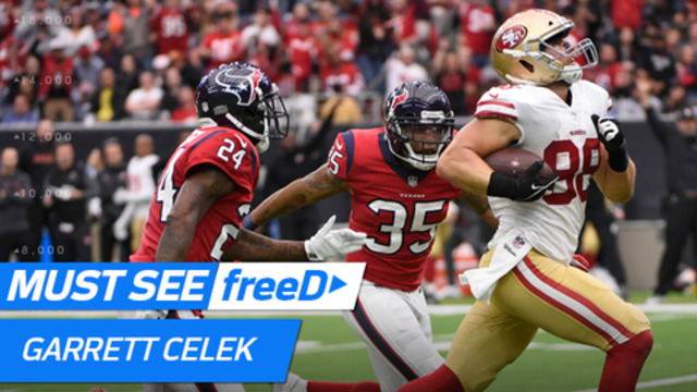 freeD: Go inside Garrett Celek's helmet as he sees HUGE gap open up for 61 yards | Week 14