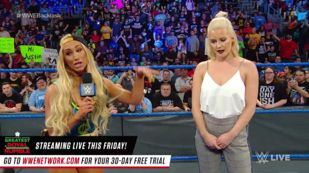 Charlotte Flair and Carmella sign the contract for their title match at WWE Backlash: SmackDown LIVE, April 24, 2018