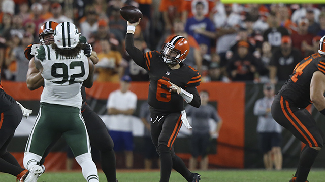Mayfield's first career pass goes to Landry for first down