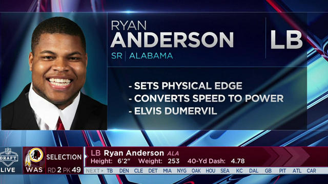 Redskins select Ryan Anderson No. 49 in the 2017 NFL Draft