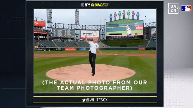 MLB: Kurios! Frau trifft Fotografen mit Baseball.