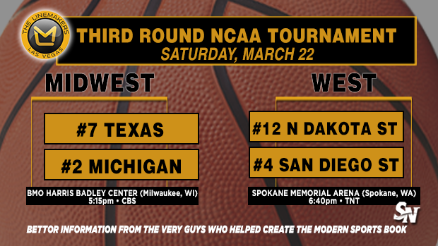 Texas vs. Michigan, No. Dakota State vs. San Diego State