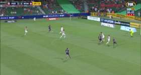 Perth Glory went into the break with the advantage after a injury time strike to Chris Harold.