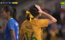 A great build-up by the Matildas ended with the ball falling to Hayley Raso, who shot just wide of the post.