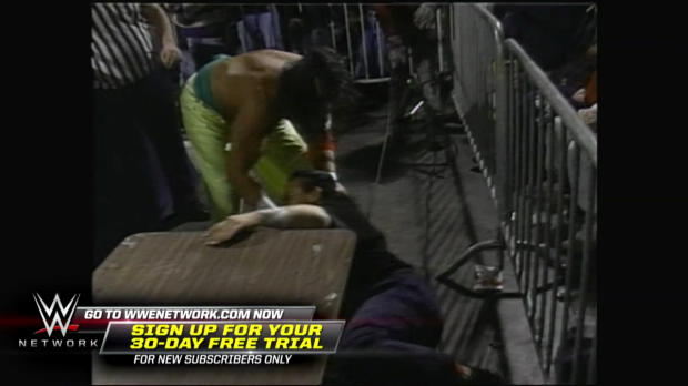 Tanaka narrowly avoids getting put through a table against Sabu: ECW Hardcore TV, Feb. 22, 1994 (WWE Network Exclusive)