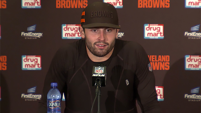 Cleveland Browns rookie quarterback Baker Mayfield reacts to being named Browns' starting QB