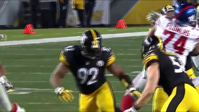 James Harrison sacks Eli Manning for a 9-yard loss