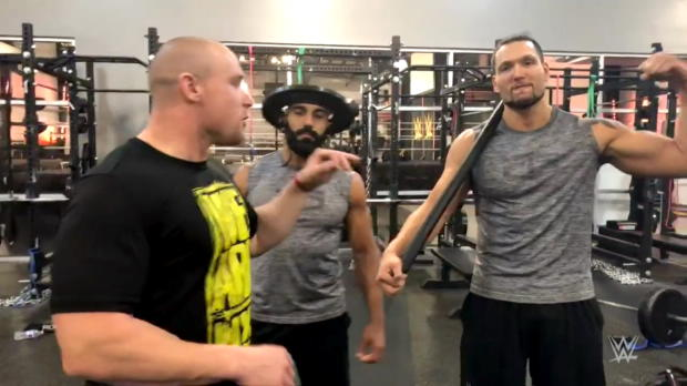 Cezar Bononi and Adrian Jaoude work on their core at the WWE Performance Center