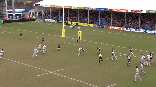 Aviva Premiership - Ben Foden sets up try with nice hands against Exeter Chiefs