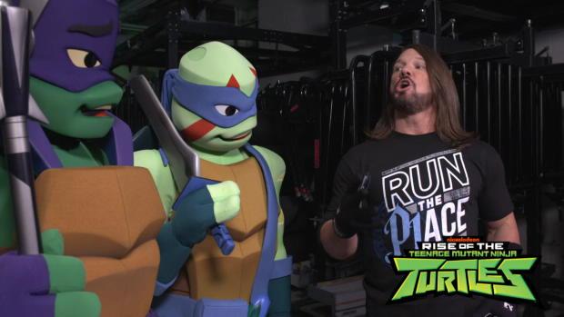 AJ Styles shows Leonardo and Donatello how to make an entrance