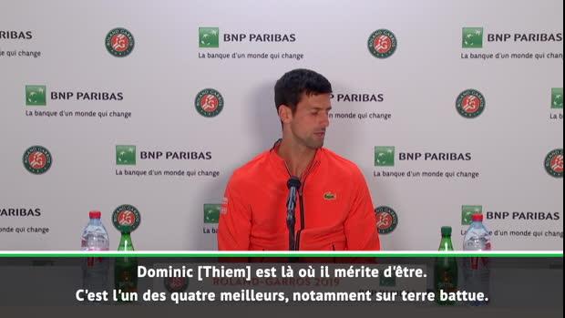 "Basket : Roland-Garros - Djokovic - ""Thiem est là où il mérite d'être"""