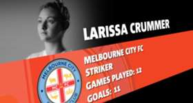Melbourne City striker Larissa Crummer has been named this season's W-League NAB Young Footballer of the Year.