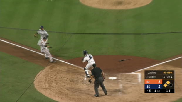Lucchesi nabs Tomlinson at plate