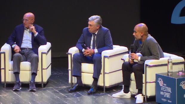 Pep und Ancelotti scherzen über Bayern-Zeit