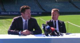 New Sydney FC CEO Danny Townsend gives his first press conference alongside Sydney FC Chairman Scott Barlow.