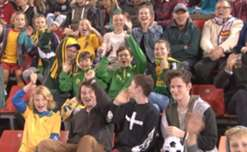 The fans show their love for the Westfield Matildas during the team's clash with Brazil on Tuesday night.