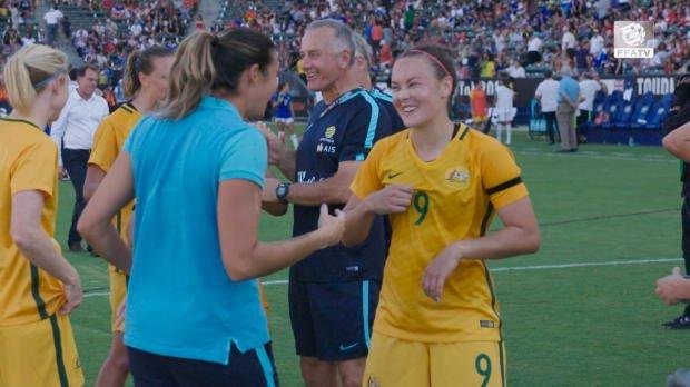 Westfield Matildas post-match celebrations