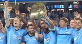 See the moment Sydney FC lifted the Premiers' Plate after their win over Newcastle Jets on Saturday night.