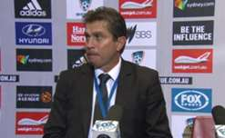 Sydney FC coach Frank Farina speaks to the media after his team's 3-1 win in the Sydney Derby.