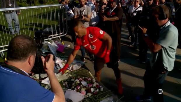 لقطة: ملاكمة: كيل بروك يقف دقيقة صمت على ارواح ضحايا مانشستر