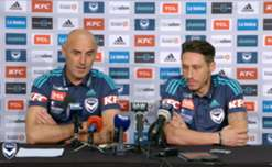 Mark Milligan and Kevin Muscat chat with the media after Milligan signed a one-year deal as a Victory marquee player.