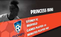 Sydney FC's Princess Ibini is the January Nominee for Nab's Young Footballer of the Year award.
