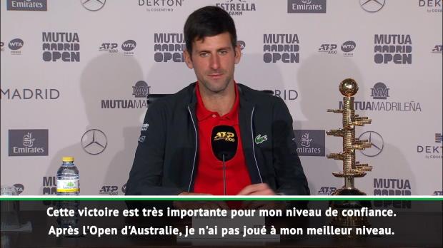 : Madrid - Djokovic - 'J'avais juste besoin d'un déclic'