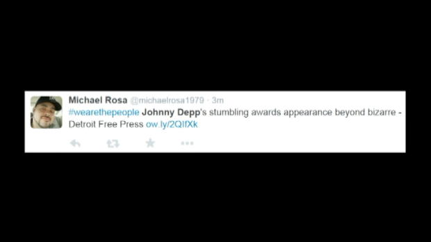 Johnny Depp 'gives awkward speech atHollywood Film Awards'
