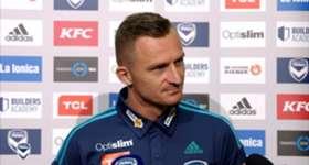 Melbourne Victory striker Besart Berisha spoke to the media at AAMI Park on Thursday.