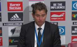 Frank Farina addresses the media after Sydney FC's 3-0 defeat against Adeladie United