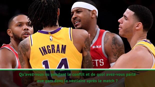 """Basket : Lakers/Rockets - LeBron - """"La bagarre ? Je n'ai rien vu"""""""
